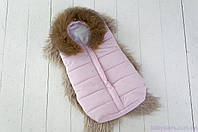 Дутый конверт-мешок зимний Snowman, с опушкой из натурального меха, цвет розовый , фото 1