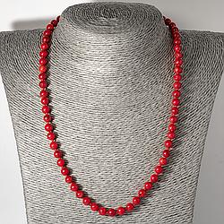 Червоний корал, Ø6 мм, намисто шнурок, 121ОК
