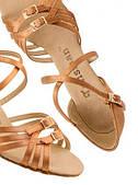 Туфли танцевальные для девочки блок каблук цвет светлый бежевый
