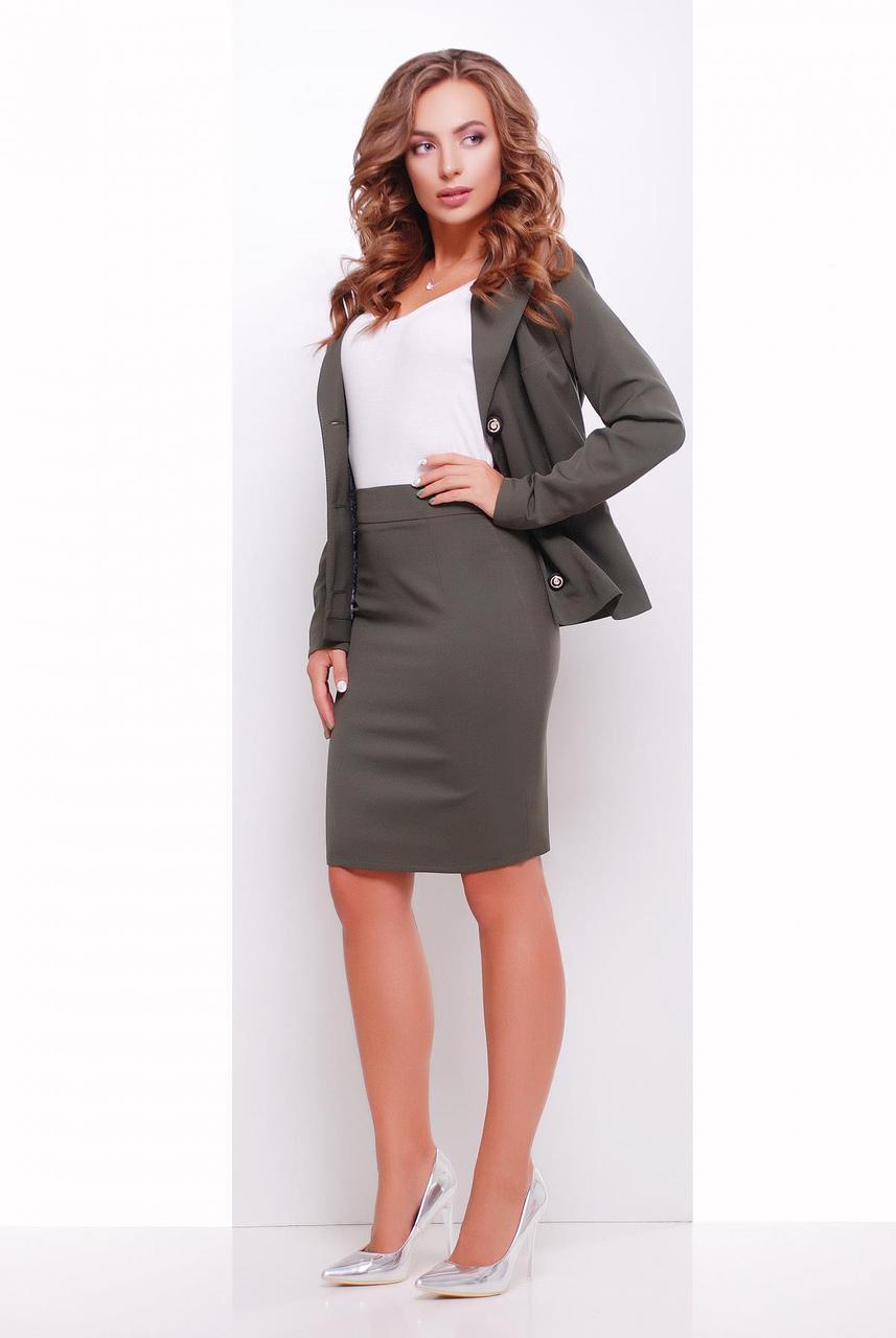 Женская офисная однотонная юбка карандаш с разрезом сзади, цвет хаки