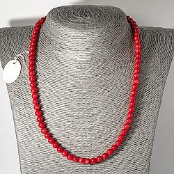 Червоний корал, Ø6 мм, намисто шнурок, 122ОК