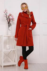 Женское шерстяное пальто до колен с глубоким воротником и карманами терракотовое П-3-ср. ш