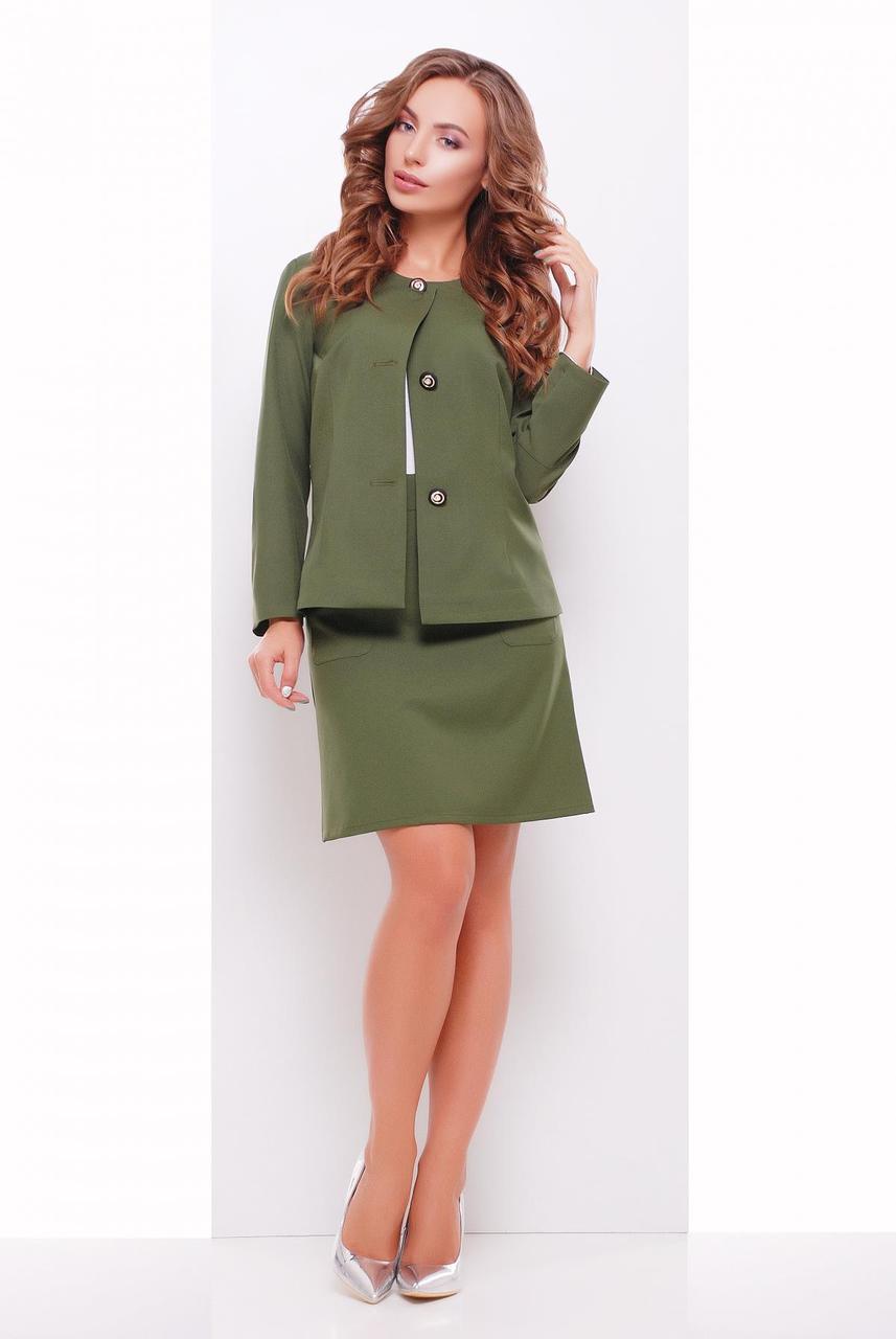 Женский деловой классический пиджак на пуговицах без воротника  оливковый