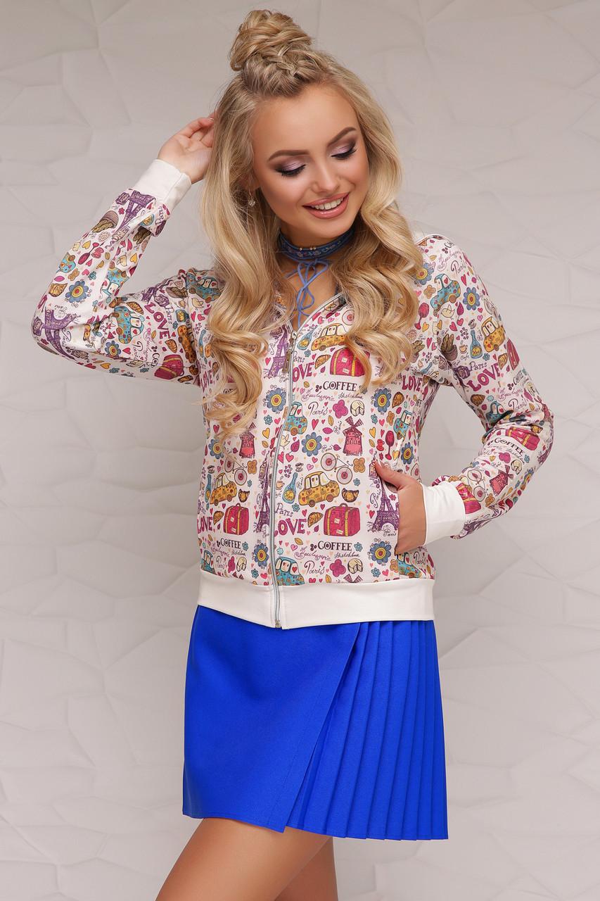 Молодежная женская кофта-бомбер с капюшоном, яркий принт Париж Джулия К