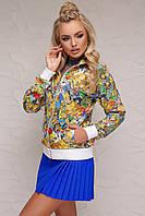 Молодежная женская кофта-реглан на молнии с ярким принтом и белыми манжетами Ева Симпсоны