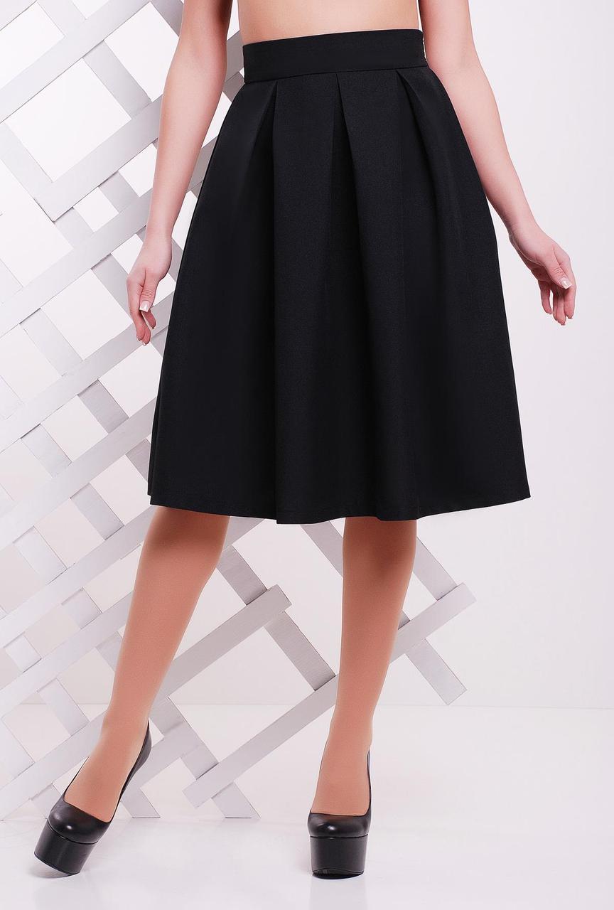 5b996cc0c702 Женская однотонная пышная юбка миди со складками черная - Bigl.ua