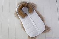 Дутый конверт-мешок для новорожденных зимний Snowman, с опушкой из натурального меха, цвет белый, фото 1