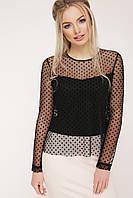 60fec9e99c0 Нарядная черная прозрачная блузка в горошек длинный рукав Амалия д р