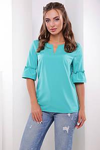 Нарядная блузка с оборками на рукавах бирюзовая
