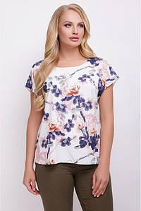 """Свободная белая женская футболка с цветочным принтом, розы с шипами, большие размеры """"Lada"""