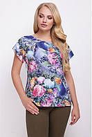 83ecc6826eefb Свободная сине-черная женская футболка с цветочным принтом, розы масло,  большие размеры