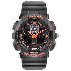 Часы наручные C-SHOCK GA-100 Black-Orange подсветка 7 цветов