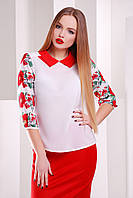 Нарядная белая шифоновая блузка с узором Маки-калина рукав 3/4 блуза Тамила2 д/р