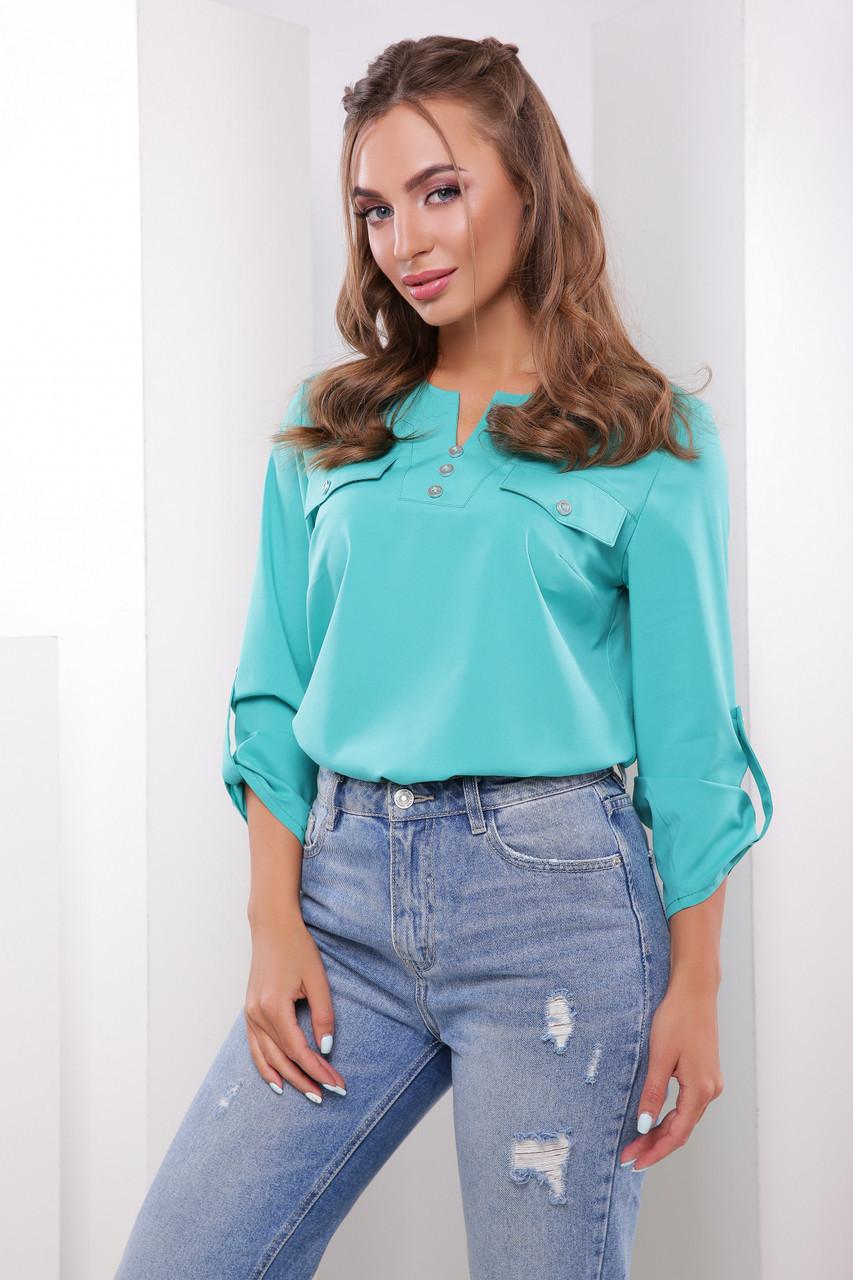 a0a14fb2d2a Красивая летняя блузка прямого кроя рукав три четверти с отворотами  бирюзовая - Интернет-магазин