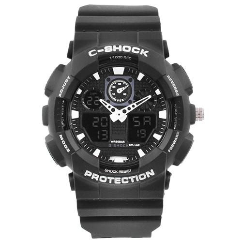 Годинники наручні C-SHOCK GA-100 Black-White, підсвітка 7 кольорів