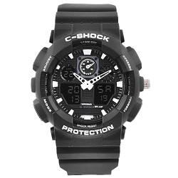 Часы наручные C-SHOCK GA-100 Black-White, подсветка 7 цветов