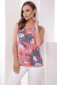 Летняя легкая блузка без рукавов с круглой горловиной красная в полоску с цветами