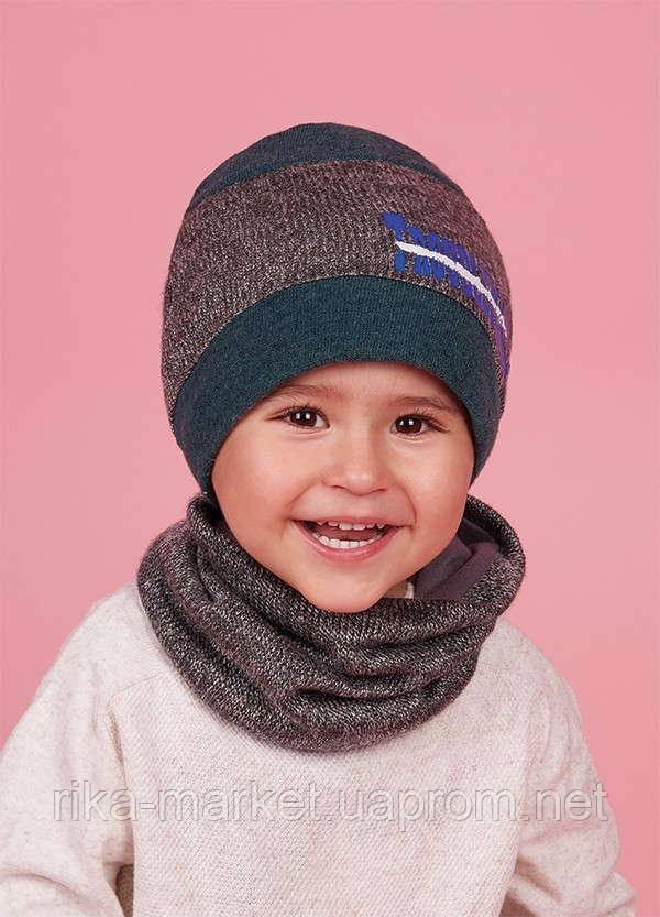 Набор для мальчика (шапка+хомут), арт. Бунго, возраст от 1,5 до 3 лет