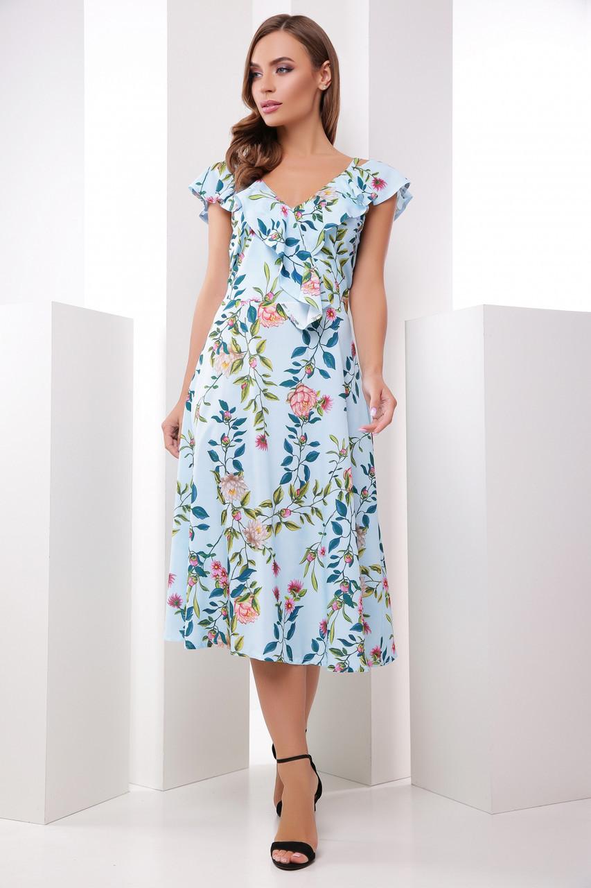 0fdeb4d0392 Красивое летнее платье миди расклешенное