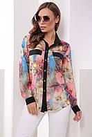 Нарядная шифоновая женская блузка-рубашка с цветочным узором астры, длинные рукава