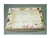 Коробка для 6-ти кексов 250*170*80 (с окошком) с принтом