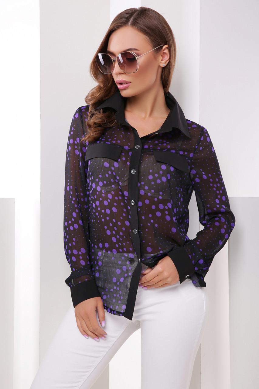 Женская шифоновая рубашка с длинным рукавом принт горох