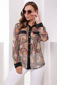 Женская шифоновая блузка в рубашечном стиле с длинными рукавами коричневая