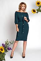 Платье Элла 0362_2 тёмно-зелёное
