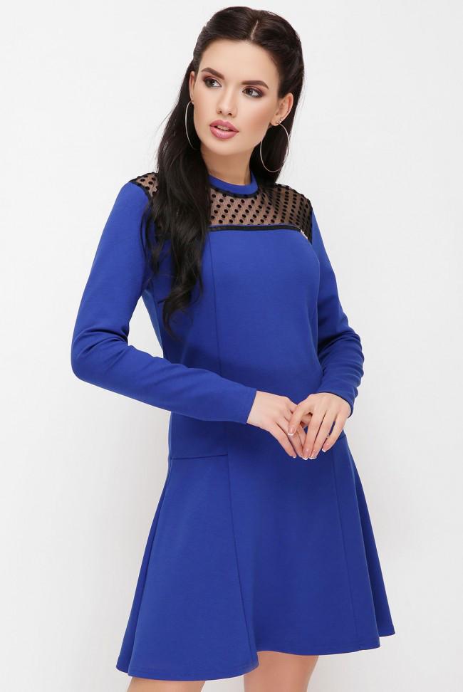 """Женское повседневное приталенное женское платье цвета электрик с сеткой, длинный рукав """"Valencia"""""""