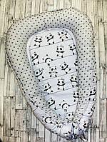 """Гнездышко-кокон для новорожденного """"Серые пандочки"""""""