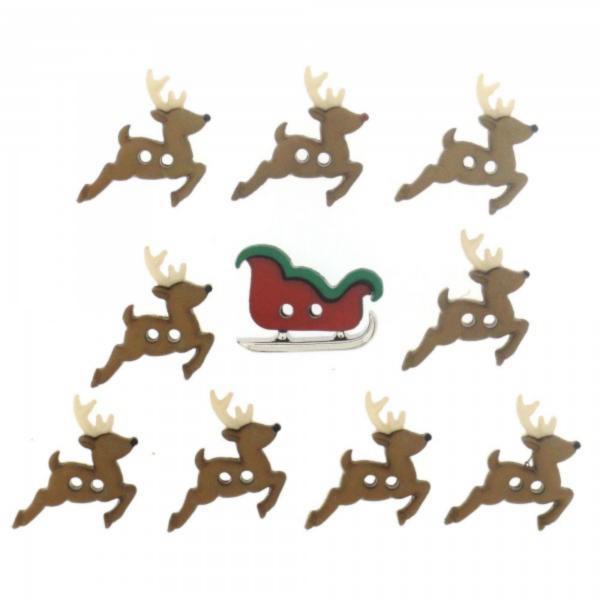 7590 Декоративні гудзики. Різдвяна упряжка оленів