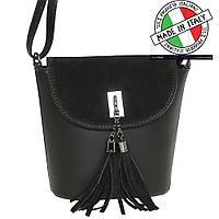 Женская кожаная сумка кожа/замша черная (Италия)