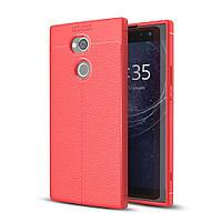Чехол для Sony Xperia XA2 Plus / H4413 силикон Original Auto Focus Soft Touch красный