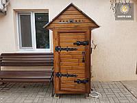 Коптильня 550л -холодного и горячего копчения, +просушка. Нержавейка внутри, крыша домиком, фото 1