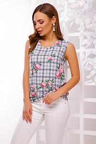 Летняя универсальная блузка без рукавов в клетку с цветами