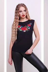 Летняя женская черная футболка без рукавов с узором