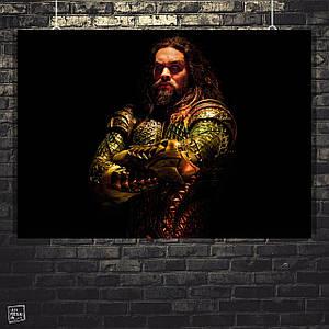 Постер Аквамен, Aquaman, Justice League, Лига Справедливости. Размер 60x42см (A2). Глянцевая бумага