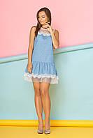 """Прямое летнее короткое платье в горошек с рюшами """"Зефира"""" 22, голубое"""
