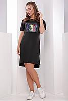 Легкое прямое платье-туника на лето короткий рукав черное принт шанель