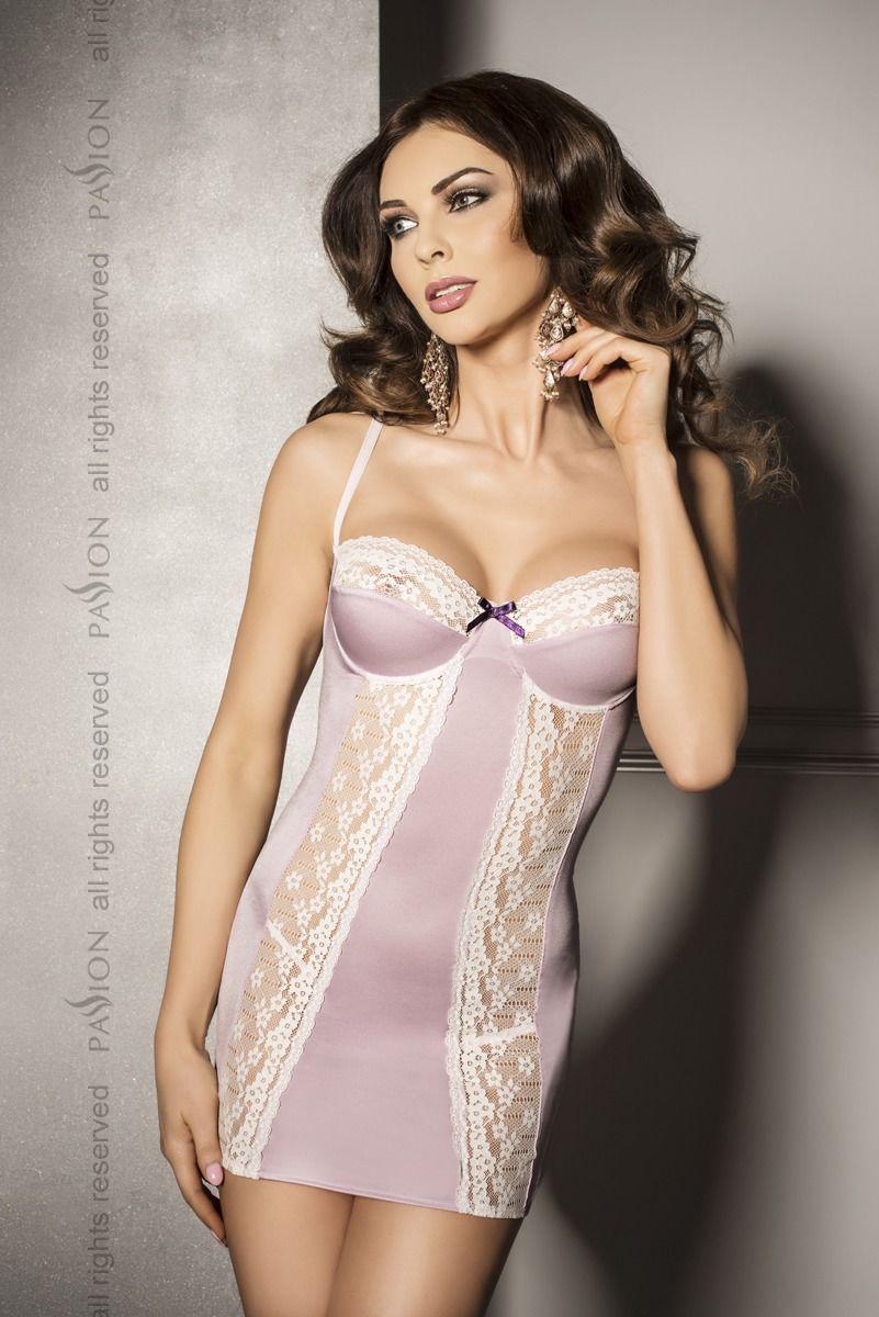 (SALE) Сорочка приталенная с чашечками SHANTI CHEMISE pink S/M - Passion Exclusive, трусики