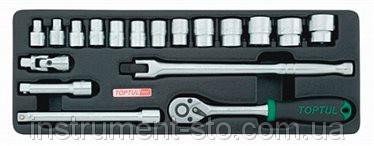 """Набор инструмента комбинированный 3/8"""" (в ложементе) GCAT1808 (Toptul, Тайвань)"""