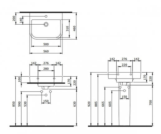 Умывальник 56 см BOCCHI SKALA ARCH 1175-004-0126, фото 2