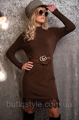 Платье вязаное кружевной низ