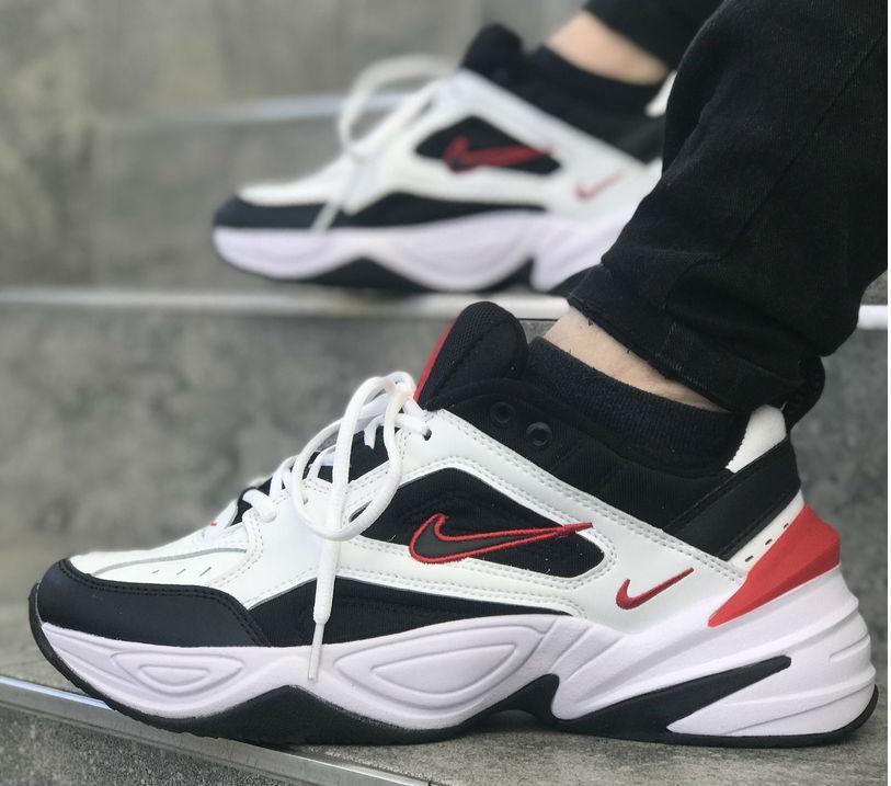 finest selection 666c9 ccc06 Nike M2K Tekno Black White Red   кроссовки мужские  черно-белые-