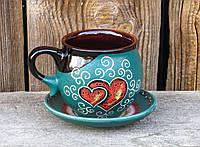 Горнятко-кулька, декор Серце зелене з блюдцем, фото 1