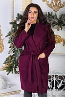 Пальто женское на запах с поясом Размеры 48-54, фото 1
