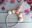 Обруч Единорог с помпончиками ручная работа розовый, фото 3