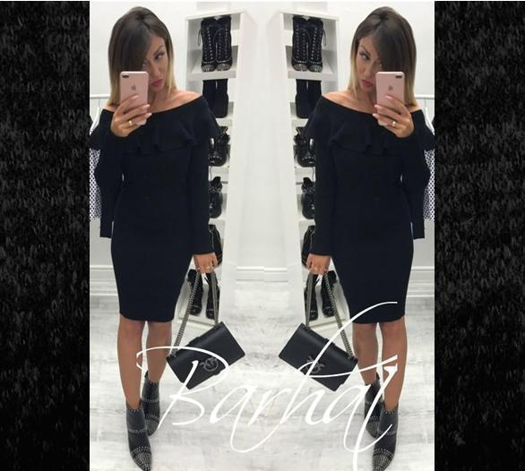 48b50a9263d Платье из ангоры длинный рукав миди с воланом черное - Интернет-магазин