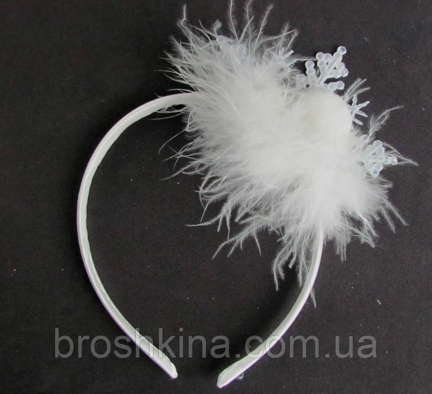 Новогодний обруч для волос Снежинка с пушком ручная работа