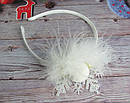 Новогодний обруч для волос Снежинка с пушком ручная работа, фото 2